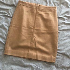 Classic Camel Wool Blend Pencil Skirt